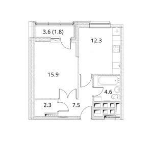 Планировка 1-комнатной квартиры в Фестиваль Парк